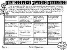 school reading challenge thanksgiving by learning in