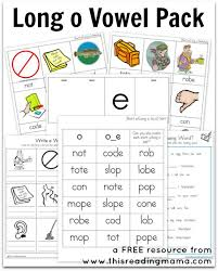 long o vowel pack free printable