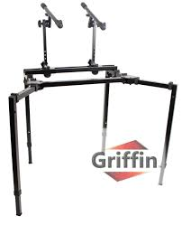 double studio mixer stand duel dj keyboard stand ace division inc