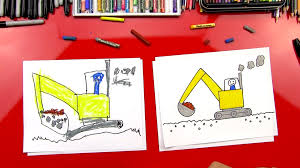 how to draw an excavator art for kids hub
