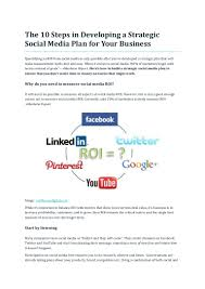 social media plan the 10 steps in developing a strategic social media plan for your bus u2026