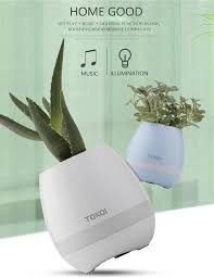 music decorations for home new luxury mini smart led bluetooth speaker music flower pots for