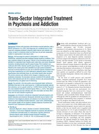 trans sector integrated treatment in psychosis and addiction