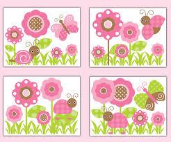 butterfly ladybug garden wall art prints baby pink nursery