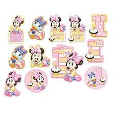 baby minnie mouse 1st birthday baby minnie mouse 1st birthday cutouts 12 pc party supplies