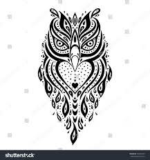 tribal owl tattoo owl tribal pattern polynesian tattoo vector stock vector 187645355
