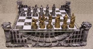 chess set with glass board themed polyresin platform pewter roman