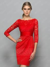 graceful lace 3 4 sleeves bateau neck sheath cocktail dress
