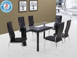 buy spanwud dining table with glass top u0026 6 chairs online in mumbai