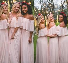 flowy bridesmaid dresses flowy pink boho bridesmaid dresses shoulder chiffon floor
