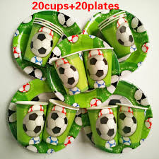 wholesale new 40 pcs football cup plate happy birthday kids baby