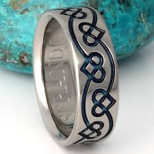 blue titanium wedding band celtic titanium wedding band blue chain of hearts ring