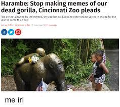Making Memes Online - harambe stop making memes of our dead gorilla cincinnati zoo