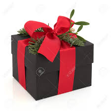 christmas gift box decorated with red satin ribbon and bow with