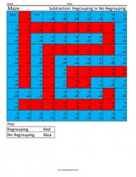 subtraction regrouping coloring squared
