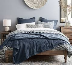 triangle bedding triangle stitch washed cotton quilt and sham pottery barn