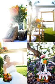 rustic citrus wedding inspiration mason jar centerpieces escort cards