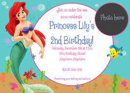 Birthday Invitation Card Sample Ariel Birthday Invitations Kawaiitheo Com