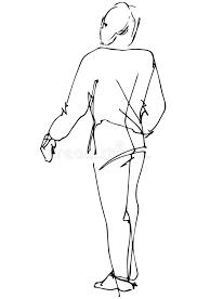 vector sketch of a man looking back over his shoulder stock vector