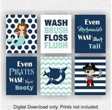 Pirate Bathroom Decor by Sale Kids Bathroom Art Wash Brush Floss Flush Pirate