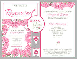wedding vow renewal ceremony program free vow renewal invitation suite pink roses