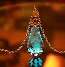 glow in the necklaces dandelion seeds in teardrop glass pendant glow in the by papillon9