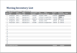 Office Excel Templates Ms Excel Printable Moving Inventory List Template Excel Templates