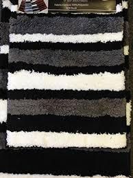Black Bathroom Rug 2 Microfiber Bath Rug Set Modern Stripe Pattern