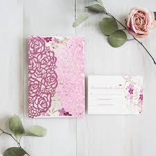 pink wedding invitations pink floral wedding invitations with glittery backers