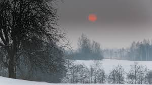 winter scene red earth trees fog winter moon scenic desktop