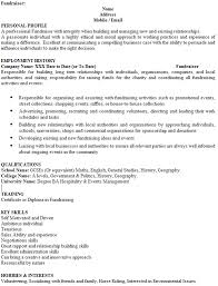 Hobbies And Interests On A Resume Examples by Fundraiser Cv Example Icover Org Uk