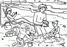 family resting on the beach coloring page for kids seasons