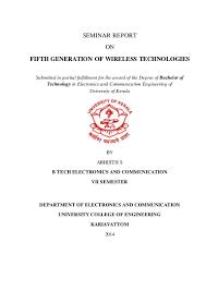 seminar report on fifth generation of wireless technologies