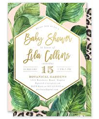 glam safari jungle baby shower invitation tropical leaves