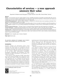 characteristics of services u2013 a new approach uncovers their value