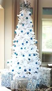 silver and blue tree white tree with blue and silver
