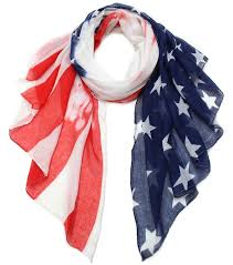 americana national flag printed vintage scarf navy red and