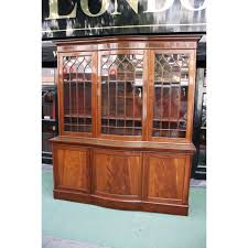 Break Front Bookcase Late Victorian Bow Breakfront Bookcase
