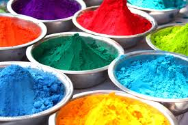 bowls containing colorful powder for the traditional celebration
