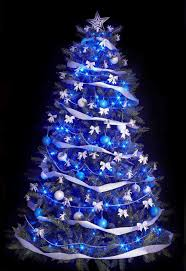 white tree with purple and silver decorations