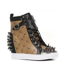 rhino womens concealed wedge heel steampunk spiked sneaker