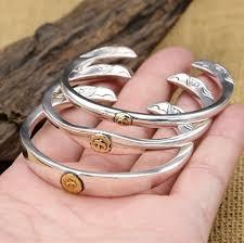 solid metal bracelet images Handmade twin head eagle bangle bracelet men women 100 pure solid jpg