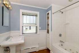 bathroom crown molding ideas cottage bathroom with wainscoting drop in bathtub in
