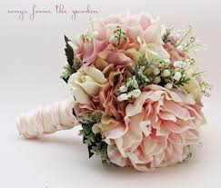 bridal bouquet bridal bouquet of the valley peonies roses hydrangea pink