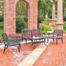 Black Cast Aluminum Patio Furniture Furniture Sedona 5 Piece Charcoal Black Cast Aluminum Patio