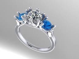 aquamarine diamond ring 3 diamond aquamarine engagement ring 3d model 3d printable stl