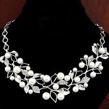 short chain pearl necklace images Wish women 39 s luxury choker faux pearl leaf hollow short chain jpg