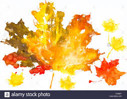 autumn leaves watercolor print on paper child drawing stock photo