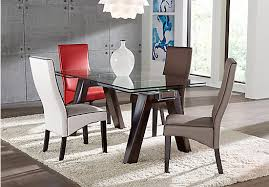 affordable dining room sets encino espresso 5 pc rectangle dining room with gray galena chairs