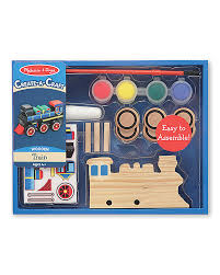 melissa u0026 doug diy train to build and paint with stickers and